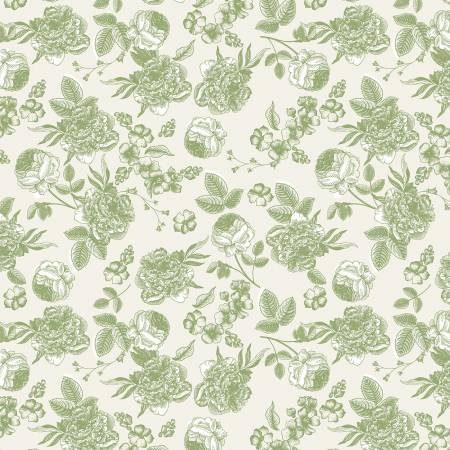 Gingham Gardens Lined Floral Green