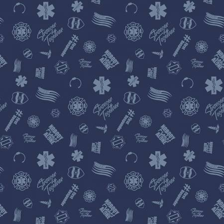 Nobody Fights Alone First Responder Symbols on Navy - fabric by the yard