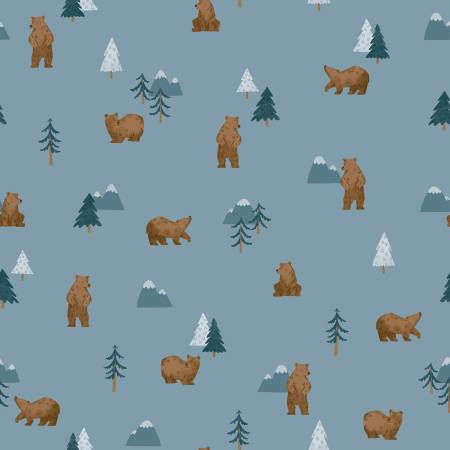 Riley Blake Camp Woodland Grizzly Bears Denim C10461-DENIM