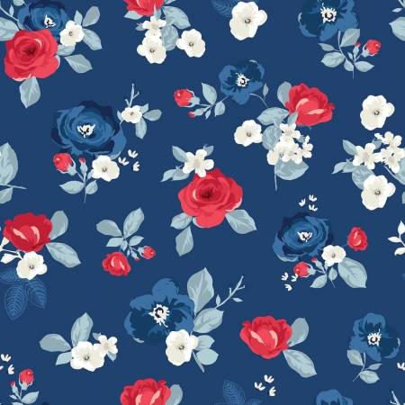 Land Of Liberty Main (Large Flowers) in Navy by My Mind's Eye for Riley Blake  C10560R-NAVY