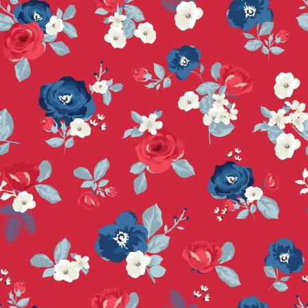 Land Of Liberty Main (Large Flowers) in Red by My Mind's Eye for Riley Blake C10560R-RED