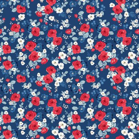 Land Of Liberty Floral in Navy by My Mind's Eye for Riley Blake  C10561R-NAVY