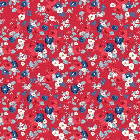 Land Of Liberty Floral in Red by My Mind's Eye for Riley Blake  C10561R-RED