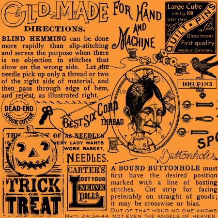 Old Made Text Orange  - Old Made - J. Wecker Frisch - Riley Blake Designs