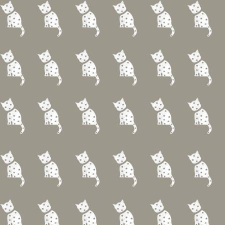 Old Made Cat Stamp Gray - Fat Quarter