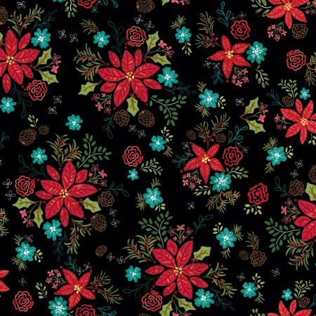 Snowed In C10811R-BLAC Floral Black