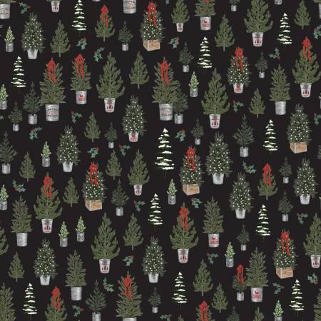 Farmhouse Christmas Trees Black C10951