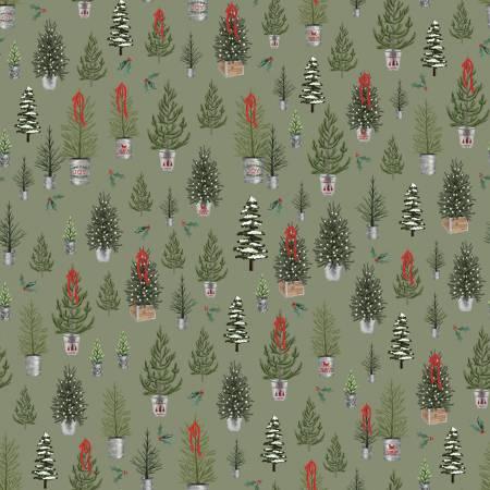 Farmhouse Christmas Trees Sage C10951