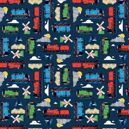 Thomas & Friends All Aboard - Riley Blake Fabrics - Tossed Train Engines