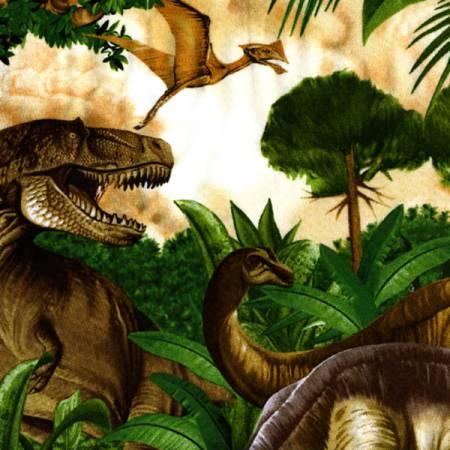 Dinosaur Scenic Green Allover