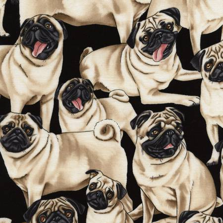 Pug Dogs Fabric by the yard