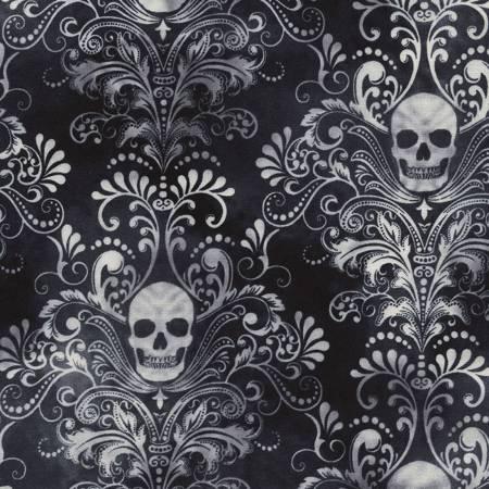 Black Skull Damask