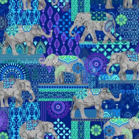 Blue Caravan Elephant Suzani