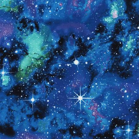 SPECIALTY FABRICS: Galaxy in Blue, Purple, and Turquoise:  Space by Timeless Treasures