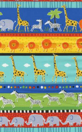Fun C4933 Multi Wild Animals Border Stripe