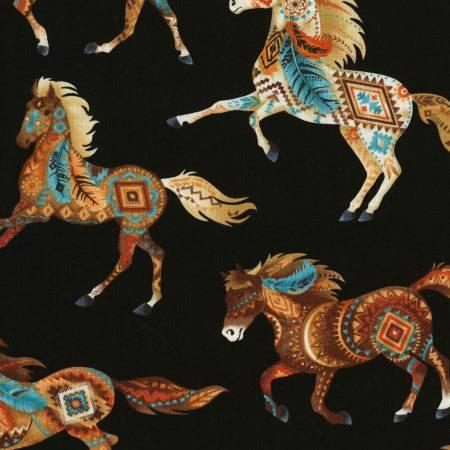 Timeless Treasures Southwest - Horses - Black