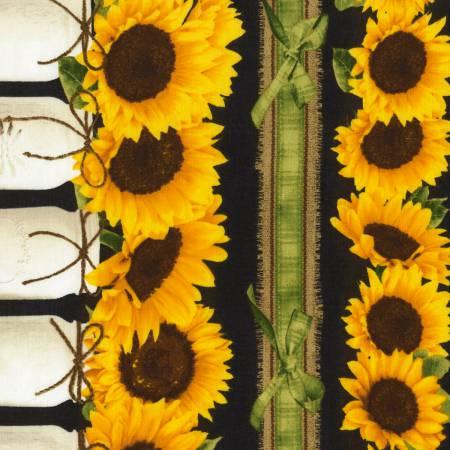 Black Sunflower Garden Border Stripe