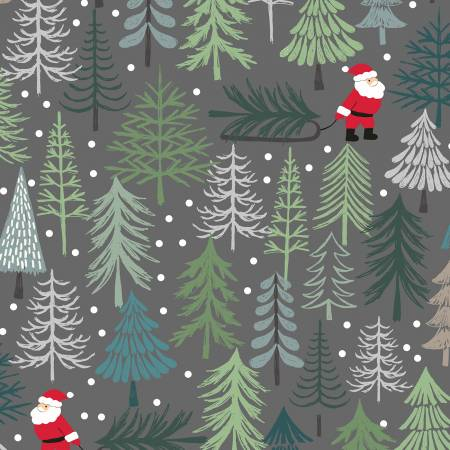 Lewis & Irene Christmas Trees C53-3 Dark Grey Santa's Tree