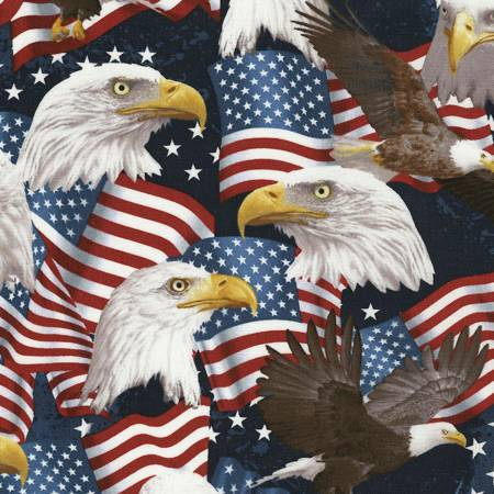 Eagle & American Flags
