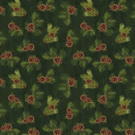 Majestic Pinecones Green