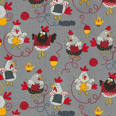 Grey Knitting Chickens Allover