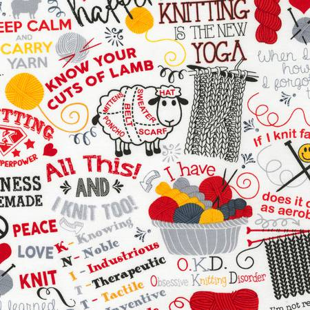 Knitting is the New Yoga- White