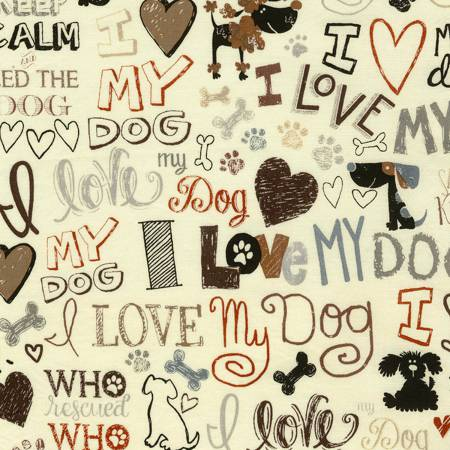 I Love My Dogs - Dog Related Words on Cream:  Gail-C5710 by Timeless Treasures