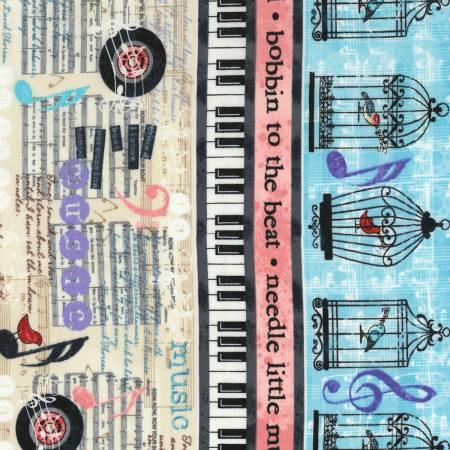 Cream Sew Musical Border Stripe