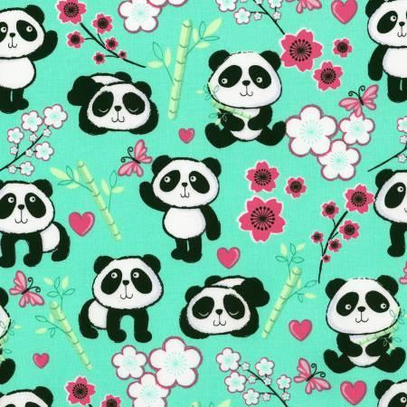 Aqua Pandas & Flowers