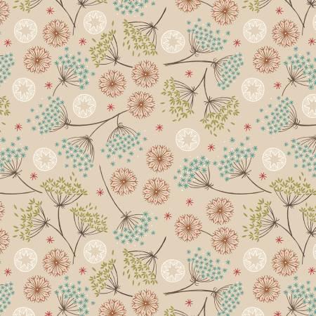 Lewis & Irene New Forest C61-1 Dark Cream Winter Floral
