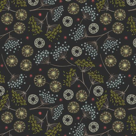Lewis & Irene New Forest C61-3 Black Winter Floral