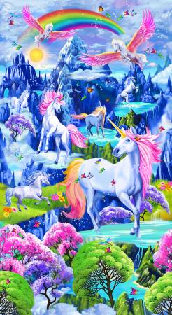 Timeless Treasures Bright Majestic Unicorns Panel 24