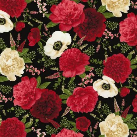 30145 Peony & Anemone Floral Black