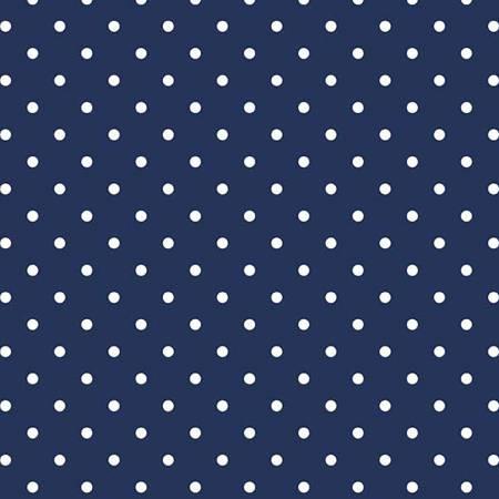 RB White Swiss Dot On Navy
