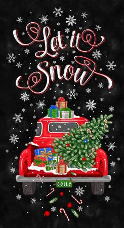 Black Let It Snow Christmas Truck Panel 24in repeat