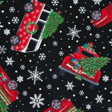 C6887 Black Christmas Trucks Tossed - by Timeless Treasures