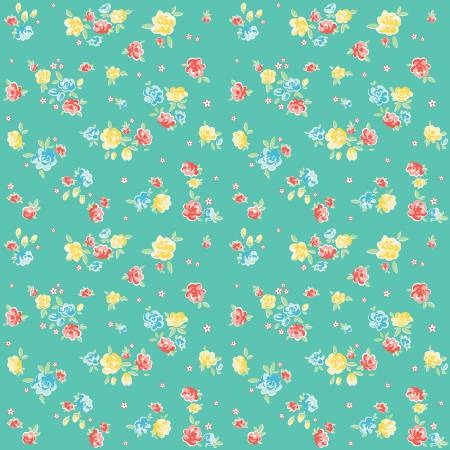 Bunnies Blossoms Teal