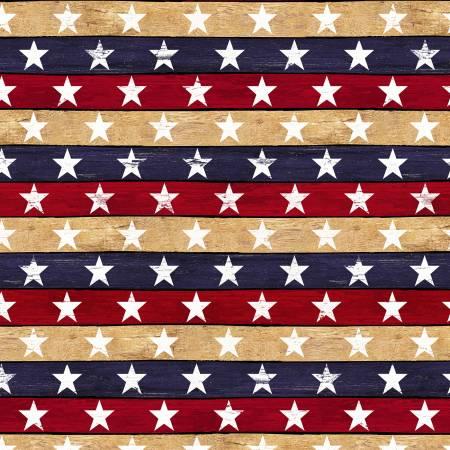 Timeless Treasures Stars & Stripes Star Stripe USA Fabric C7047-USA