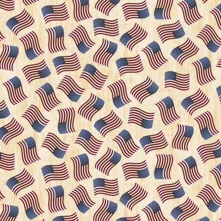 TT- Cream Tossed American Flags
