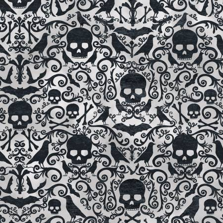 TT- Boo Skulls and Crows Damask Print