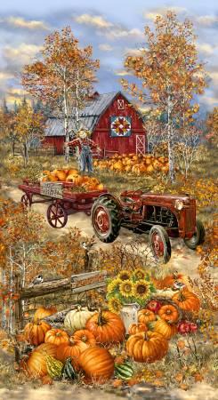 Timeless Treasure Multi Pumpkin Patch Panel 24in repeat