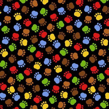 Black/Multi Paw Prints