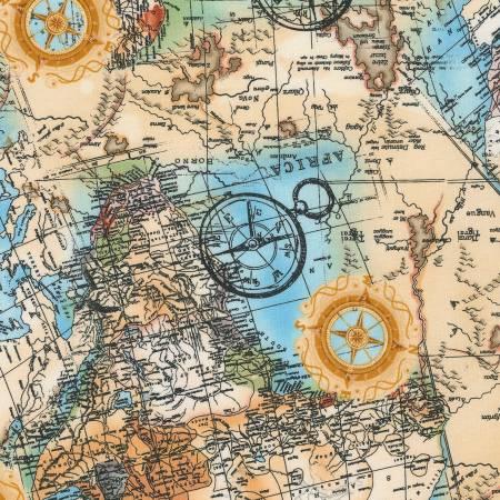 Timeless Treasures Multi Safari Maps