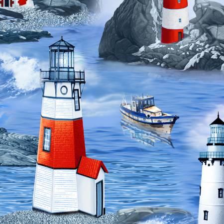 1907 Blue Lighthouse Scenic  Timeless Treasures