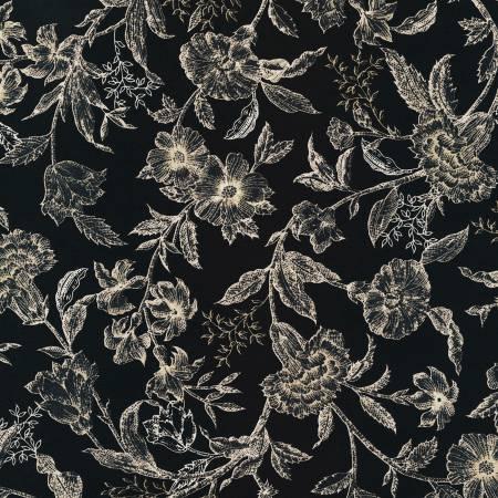 Black Floral Noir Flowers and Leaves