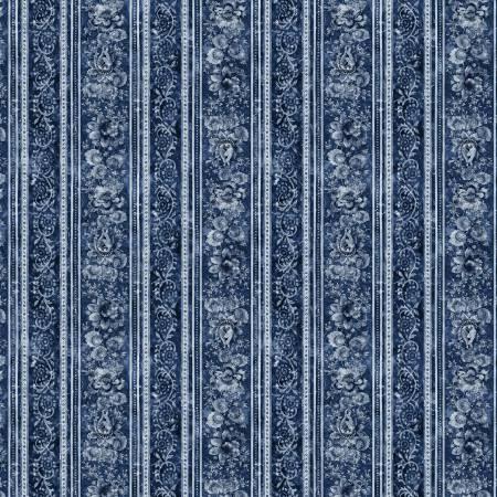 London Blues - Elegant Stamped Floral Stripe