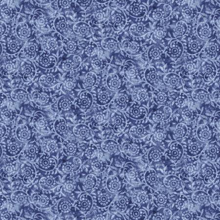 London Blues - Stamped Pattern - Blue