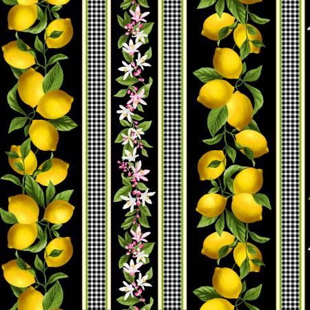 Blooming Black Lemon Gingham Border Stripe, Timeless Treasures