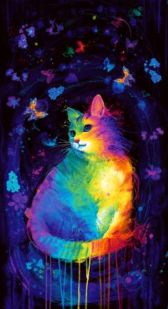 Rainbow Cat Panel 24in