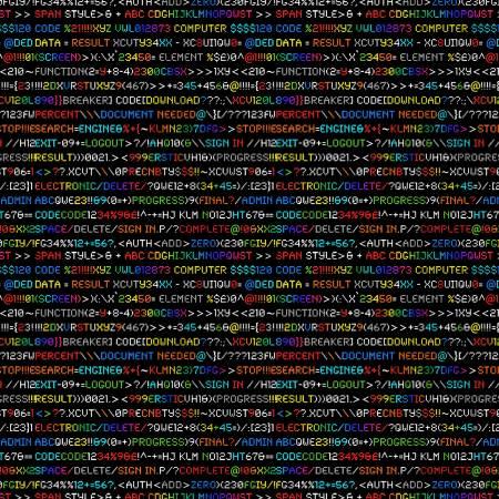Timeless Treasures Rainbow Coding Programming Language - Black (0.7m Remnant)